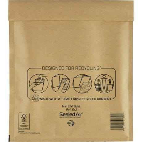 Sealed Air Mailing Bags e/2 80gsm Gold plain peel and seal 100 pieces