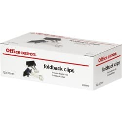 Office Depot Foldback Clips Black 32 mm 12 Per Box