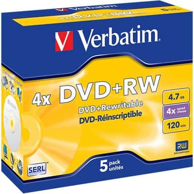 Verbatim DVD+RW 4x 4.7 GB 5 Pieces