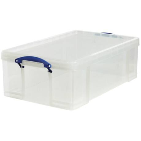 Really Useful Box polypropylene plastic storage box 50 L (230 x 440 x 710 mm H x W x D) in Clear
