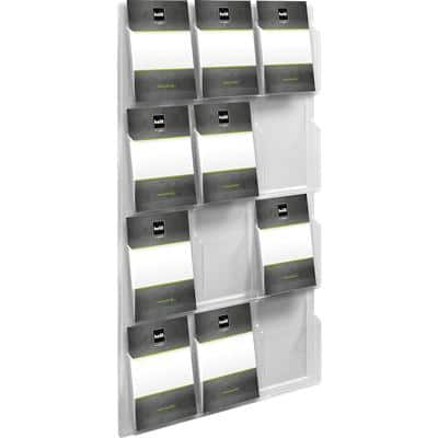 helit Literature Display Wall Mounted 12 x A4 Clear