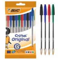 BIC Cristal Original Ballpoint Pen Medium 0.4 mm Assorted Pack of 10