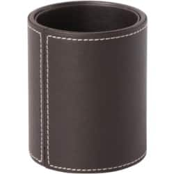 Pen Holder Faux Leather Brown 105H x 80 Diameter