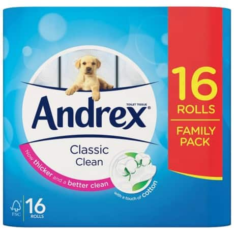 Andrex Toilet Paper Classic 2 ply 16 rolls of 200 sheets