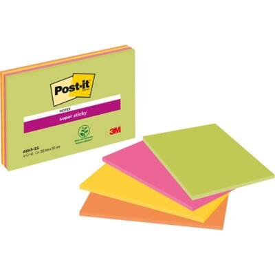 Post-it Super Sticky Notes 203 x 152 mm Assorted 4 Pieces of 45 Sheets