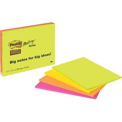 Post-it Super Sticky Meeting Notes 203 x 152 mm Neon Assorted Colours 4 Pads of 45 Sheets