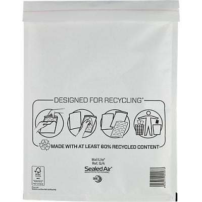Mail Lite Padded Envelopes G/4 240 (W) x 330 (H) mm Peel and Seal White Pack of 50