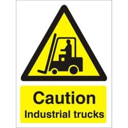 Warning Sign Caution Industrial Trucks Self Adhesive Vinyl 150 x 200 mm