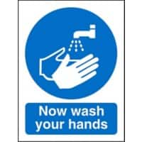 Mandatory Sign Wash Hands PVC 15 x 20 cm