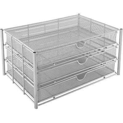 Osco Filing Drawers Unit Silver Wire Mesh 35.5 x 24.5 x 19.5 cm 3 Pieces
