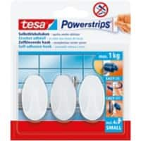 tesa Powerstrips Self Adhesive Hooks 0.06 m White 3 Pieces
