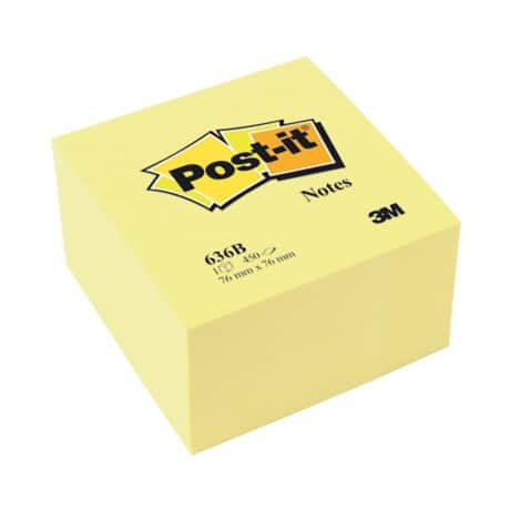 Post-it® Pastel Yellow Cube (76 mm x 76 mm) 1 cube per pack
