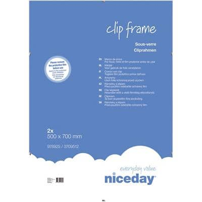 Niceday Wall Mountable Clip Frame 978925 Special Format 700 x 500 mm Transparent Pack of 2