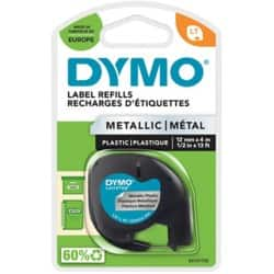 Dymo Letratag Label Plastic Metallic Silver 12 mm x 4 m