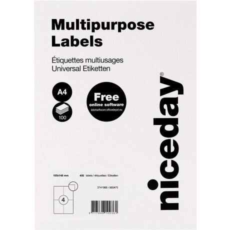 Niceday 980470 Multipurpose Labels White 148 x 105 mm 100 sheets of 4 labels