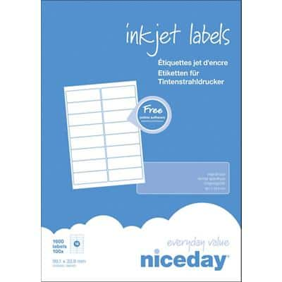 Niceday Inkjet Labels Self Adhesive 99.1 x 38.1 mm White 100 Sheets of 16 Labels