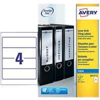 Avery J8171-25 Filing Labels Self Adhesive 200 x 60 mm White 4 Sheets of 25 Labels