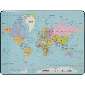 Durable world map desk mat 400 x 530 mm viking direct ie anti glare desk pad ideal for keeping notes visible without getting in the way gumiabroncs Images