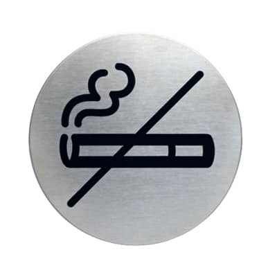 Durable Stainless Steel Sign No Smoking 83 mm