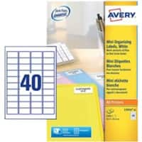 Avery L7654-25 Mini Multipurpose Labels Self Adhesive 45.7 x 25.4 mm White 25 Sheets of 40 Labels
