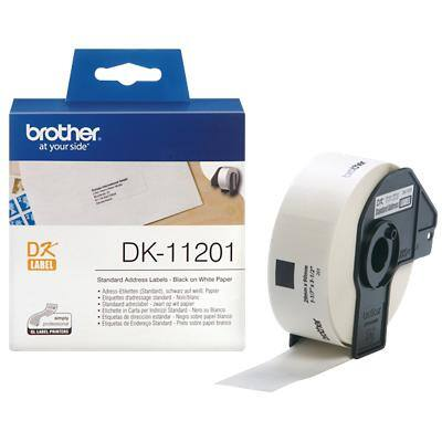 Brother Address Labels DK-11201 Black on White 29 mm x 90 mm 400 Labels