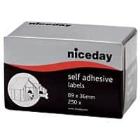 Niceday Address Labels 180814 White Self Adhesive 36 x 89 mm 250 Labels per Pack