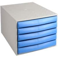 Exacompta Desktop Drawers Multiform PP, Polystyrene Grey, Blue 28.4 x 38.7 x 21.8 cm