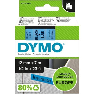 DYMO Labelling Tape 45016 12 mm x 7 m Black , Blue