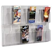 helit Wall Mountable Literature Display Acrylic 766 x 51 x 520mm A4 Transparent