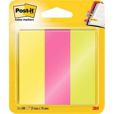 Post-it Notes Markers 25 x 76 mm Assorted 100 x 3 Pack