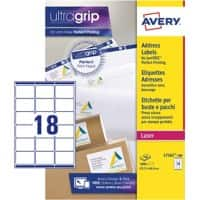 AVERY Address Labels L7161-100 UltraGrip White Self Adhesive A4 63.5 x 46.6 mm 100 Sheets of 18 Labels