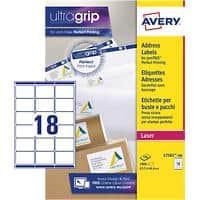 Avery L7161-100 Address Labels Self Adhesive 63.5 x 46.6 mm White 100 Sheets of 18 Labels