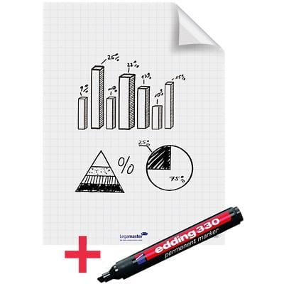 Legamaster Electrostatic Magic Chart Whiteboard Foils Not Perforated A1 500g 25 Sheets