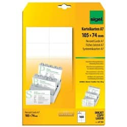 Sigel PC 185gsm A7 Record Cards-White