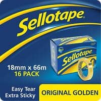 Sellotape Tape Original Golden Easy Tear Polypropylene 18mm x 66m Transparent 6 Rolls
