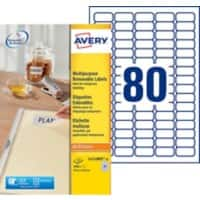 Avery L4732REV-25 Mini Multipurpose Labels Removable 35.6 x 16.9 mm White 25 Sheets of 80 Labels