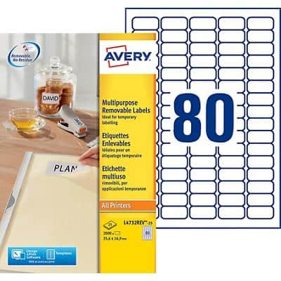 Avery L4732REV-25 Mini Multipurpose Labels A4 White 35.6 x 16.9 mm 25 Sheets of 80 Labels