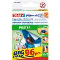 tesa Powerstrips Double Sided Strips Poster 0.045 m Transparent 96 Pieces