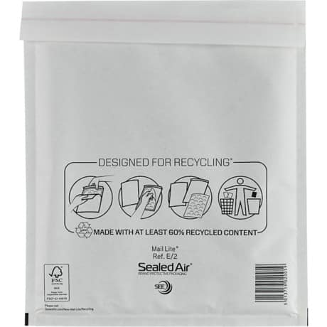 Sealed Air Mailing Bags e/2 110gsm White plain peel and seal 100 pieces
