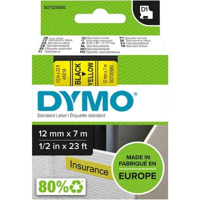 DYMO Labelling Tape 45018 12 mm x 7 m Black , Yellow