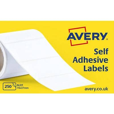 AVERY Typewriter Address Label Rolls AL01 White 76 x 37 mm 1 Roll of 250 labels