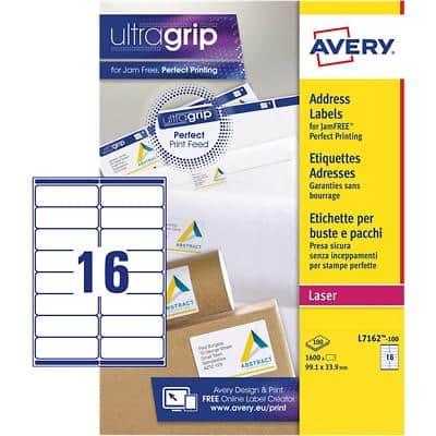 AVERY Address Labels L7162-100 UltraGrip White A4  99.1 x 33.9 mm 100 Sheets of 16 Labels