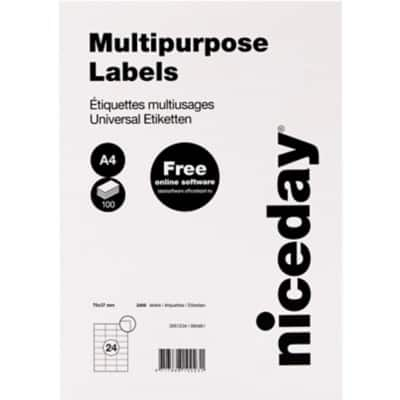 Niceday Multipurpose Labels 70 x 37 mm Adhesive White 100 Sheets Pack of 2400 Labels