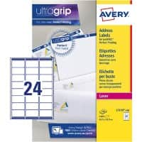 AVERY Address Labels L7159-100 UltraGrip White Self Adhesive A4 63.5 x 33.9 mm 100 Sheets of 24 Labels