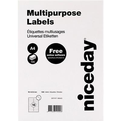 Niceday 3970107 Multipurpose Labels Self Adhesive 99.1 x 33.9 mm White 100 Sheets of 16 Labels