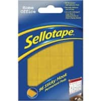 Sellotape Sticky Hook Pads Permanent Yellow Pack of 96