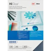 GBC HiClear Binding Covers A4 PVC 300 Microns Transparent Pack of 100