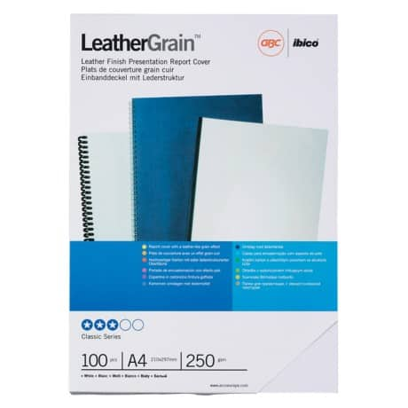 GBC A4 Leather-Look Binding Covers White 250gsm 100 Per Pack