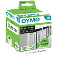 DYMO LW S0722480 Lever Arch Files Labels, Authentic, Self Adhesive, White 59 mm x 190 mm, 110 Labels
