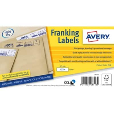 Avery Franking Labels FL10 White 1000 labels per pack